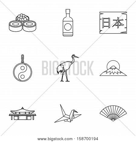 Tourism in Japan icons set. Outline illustration of 9 tourism in Japan vector icons for web