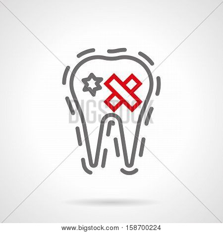 Abstract symbol of carious tooth with hole. Prevention and treatment of dental diseases, stomatology. Oral hygiene for smokers. Single gray and red simple line design vector icon.