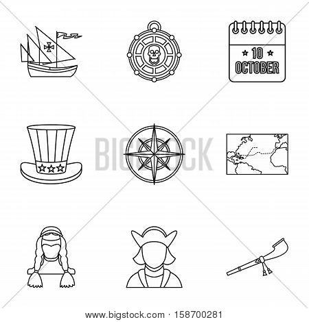 Discovery of America icons set. Outline illustration of 9 discovery of America vector icons for web