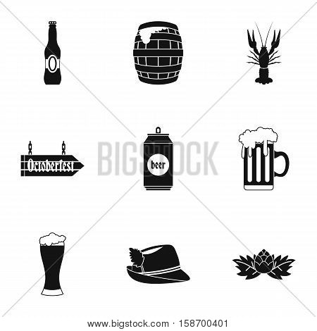 Beer fest icons set. Simple illustration of 9 beer fest vector icons for web