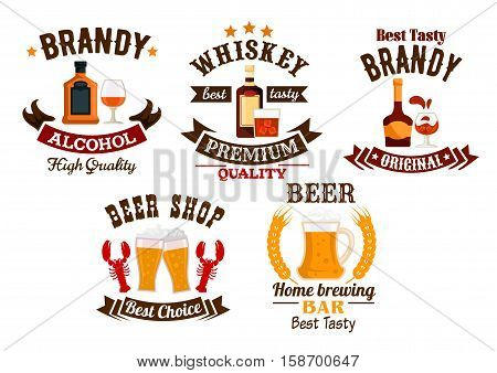 Beer bar sign. Whiskey, brandy, draught beer vector isolated alcohol drinks icons set. Bar, brewery pub emblems, ribbons, stars, glasses, mugs