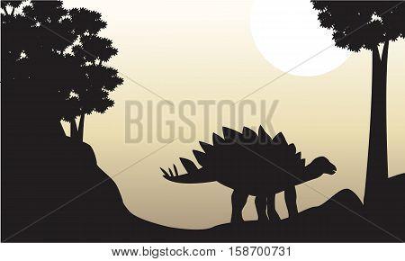 Landscape of stegosaurus silhouettes on the hill illustration