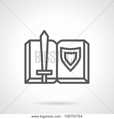 Symbol of open book with sword and shield. Novel about medieval knights. Adventure, fantasy and historical literature, legends. Single black simple line design vector icon.