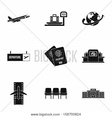 Airport check-in icons set. Simple illustration of 9 airport check-in vector icons for web