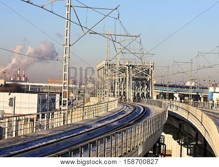 Railway bridge of electrified line with pillars
