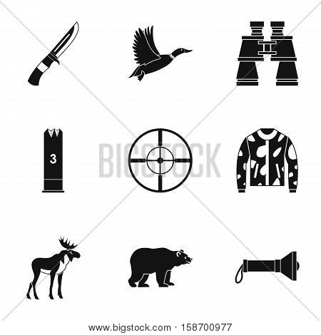 Hunting icons set. Simple illustration of 9 hunting vector icons for web