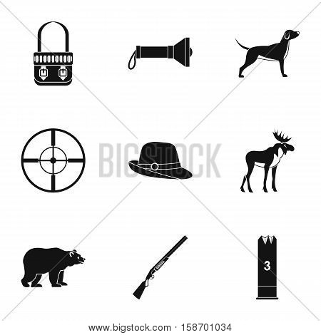 Bird hunting icons set. Simple illustration of 9 bird hunting vector icons for web