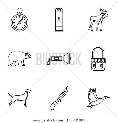 Hunting icons set. Outline illustration of 9 hunting vector icons for web