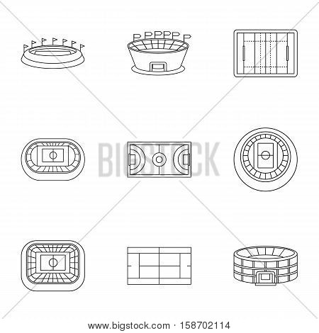 Game at stadium icons set. Outline illustration of 9 game at stadium vector icons for web