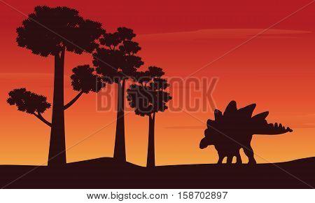 Silhouette of dinosaur stegosaurus on the hill vector illustration