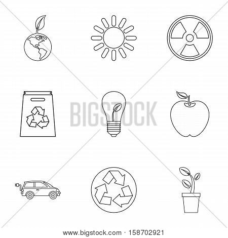 Purity of nature icons set. Outline illustration of 9 purity of nature vector icons for web