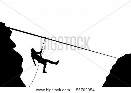 illustration of male rock climber silhouette moving down on rope