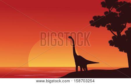 Silhouette of dinosaur brachiosaurus on riverbank vector illustration