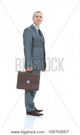 qualified legal adviser in a business suit with a briefcase isol