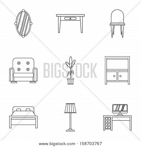 Home furnishings icons set. Outline illustration of 9 home furnishings vector icons for web