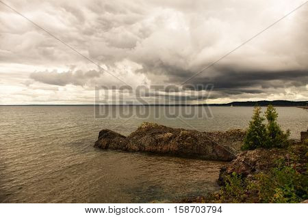 Rocky outcrop on the shores of Lake Superior.