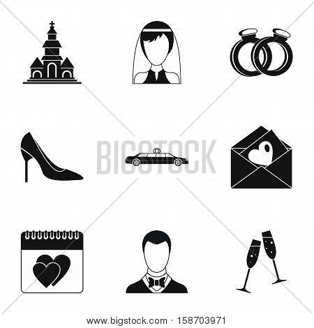Wedding ceremony icons set. Simple illustration of 9 wedding ceremony vector icons for web