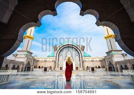 Malaysia Mosque with Muslim pray in Malaysia Malaysian muslim with mosque religion concept