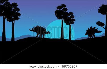 Silhouette of stegosaurus blue sky scenery vector illustration