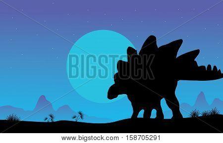 Silhouette of stegosaurus at the night scenery illustration