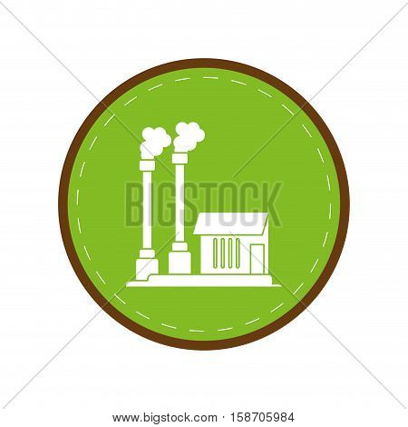 industrial factory buiding pollution symbol green circle vector illustration eps 10