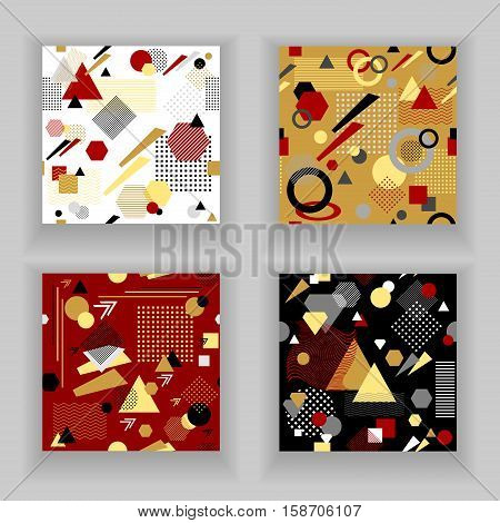 Set Abstract seamless pattern from geometric form in postmodern Memphis Style white black red beige for wallpaper package clothes or for decoration childish school subject or for creative design
