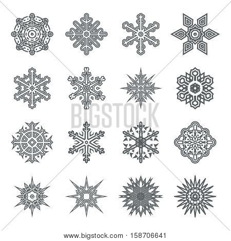 Snowflakes geometric abstract geometry Cristmas New Year Icons Greeting Card Elements Template Vector Illustration
