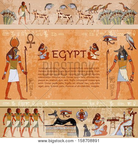 Ancient egypt. Hieroglyphic carvings on the exterior walls of an ancient egyptian temple. Hand drawn vector. Murals ancient Egypt. Grunge ancient Egypt background