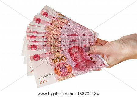Chinese RMB bills, on white background. Financial concept