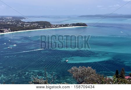 Shoal bay on a sunny day from Mount Tomaree Lookout (Central Coast NSW Australia)
