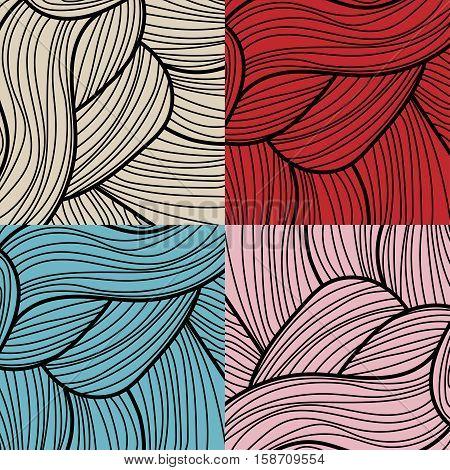 Set of four retro lines patterns - vector illustration