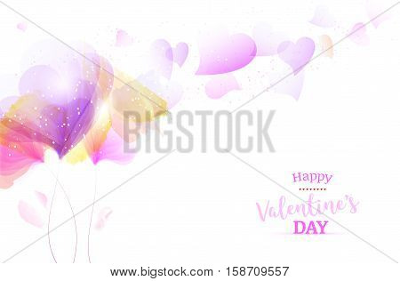Abstract romantic flowers and hearts on white background - Happy Valentines Day card. Vector illustration.