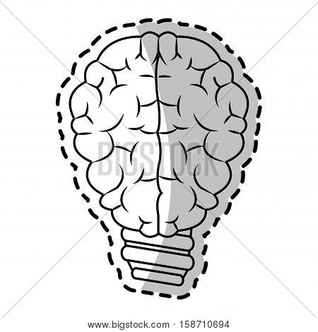 Brain and bulb icon. Big idea creativity genius and imagination theme. Isolated design. Vector illustration