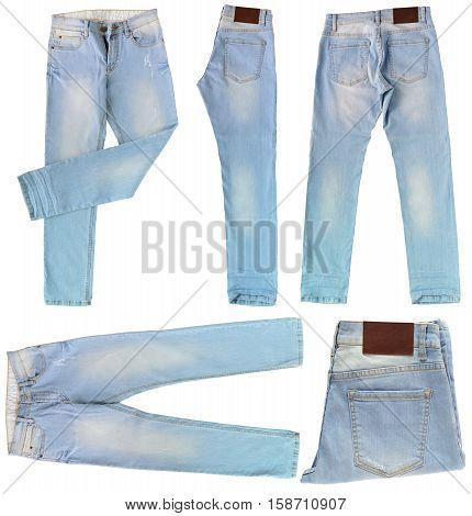 close up set of light blue jeans isolated on white background with clipping path