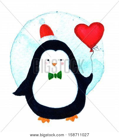 Cute of a penguin cartoon celebrating Christmas with balloon heart. Cartoon penguin for babies and little kids. Cartoon penguin character. Funny bird. Watercolor illustration isolated on white background