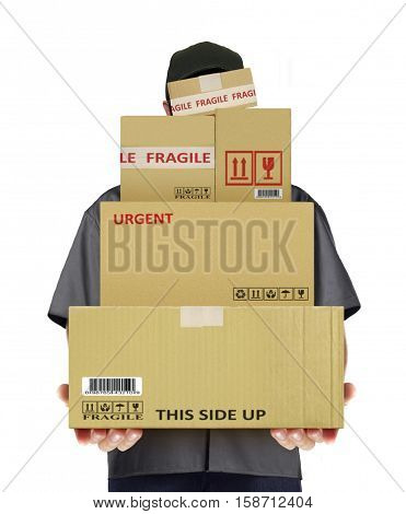 Delivery man carry parcel boxes over white