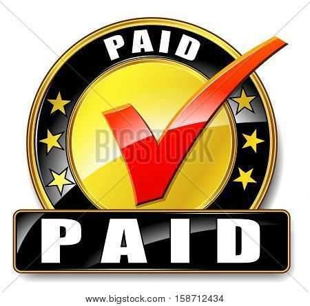 Illustration of paid icon on white background