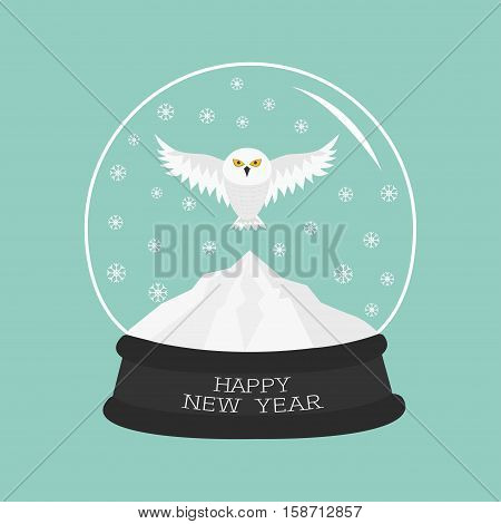 Snowy white owl. Flying bird Big wings. Yellow eyes. Arctic Polar animal collection. Crystal ball with snow. Happy New Year card Flat design Blue background. Vector illustration