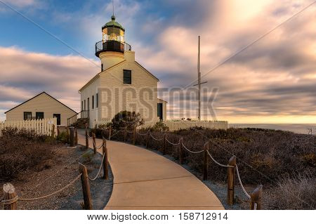 Sunset at Point Loma Lighthouse in Cabrillo National Park, San Diego