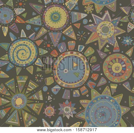 Vector seamless pattern with graphic doodle suns, stars and tribal elements. Hand drawn endless colorful background with many details and elements. Modern fashion textile design