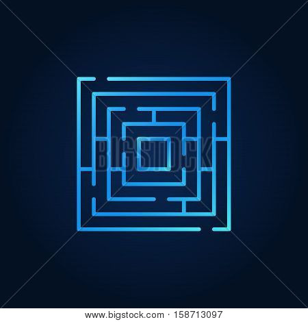 Labyrinth blue icon. Vector concept square maze colorful outline symbol or logo element on background