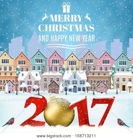 happy new year and merry Christmas winter old town street with christmas tree. concept for greeting and postal card, invitation, template, 2017 christmas ball. Christmas vintage card