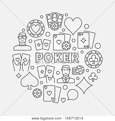 Poker round illustration. Vector Texas Holdem Poker concept sign in thin line style