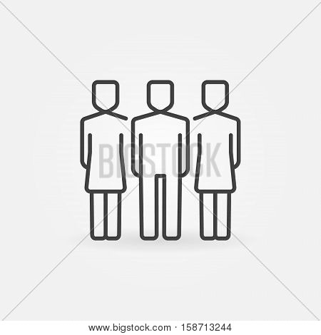Team outline icon. Vector man with two women concept symbol in thin line style. People linear sign