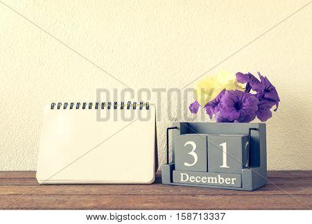Vintage Wooden Calendar Set On The 31 Of December With Flower And Blank Calendar Vintage Wooden Cale
