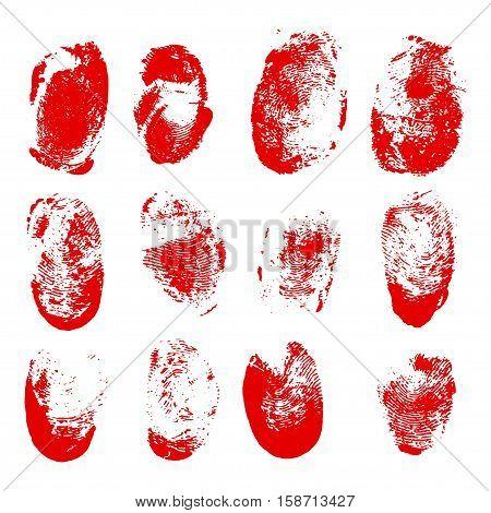 Set of blood fingerprints. Vector red stains of fingers