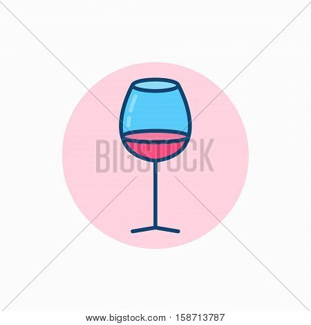 Glass of wine colorful icon. Vector minimal glass with wine concept sign
