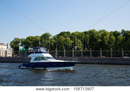 Speedboat on the river Neva in St. Petersburg in Russia