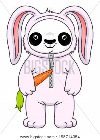 Cute cartoon panda in the bunny suit isolated on the white background.