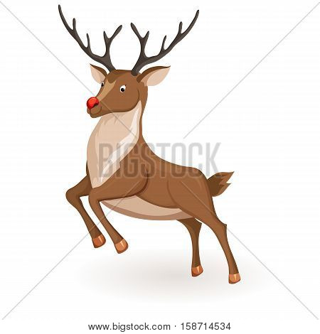 Reindeer jump or fly Christmas vector illustration. Galloping deer with red nose. Cartoon profile reindeer jump. Xmas holiday icons
